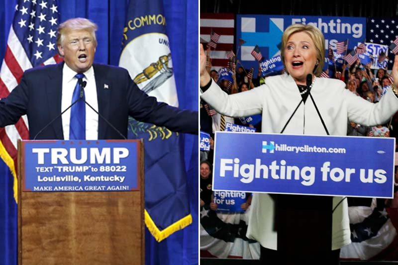 Republican US presidential candidate Donald Trump (left) speaks to supporters at a Super Tuesday campaign rally in Louisville, Kentucky and (right) US presidential candidate Hillary Clinton addresses supporters at her Super Tuesday primary night party in Miami, Florida, on March 1, 2016. Photos: Reuters