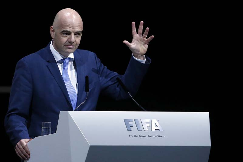 FIFA presidential candidate Gianni Infantino of Italy and Switzerland makes a speech during the Extraordinary Congress in Zurich, Switzerland on February 26, 2016. Photo: Reuters