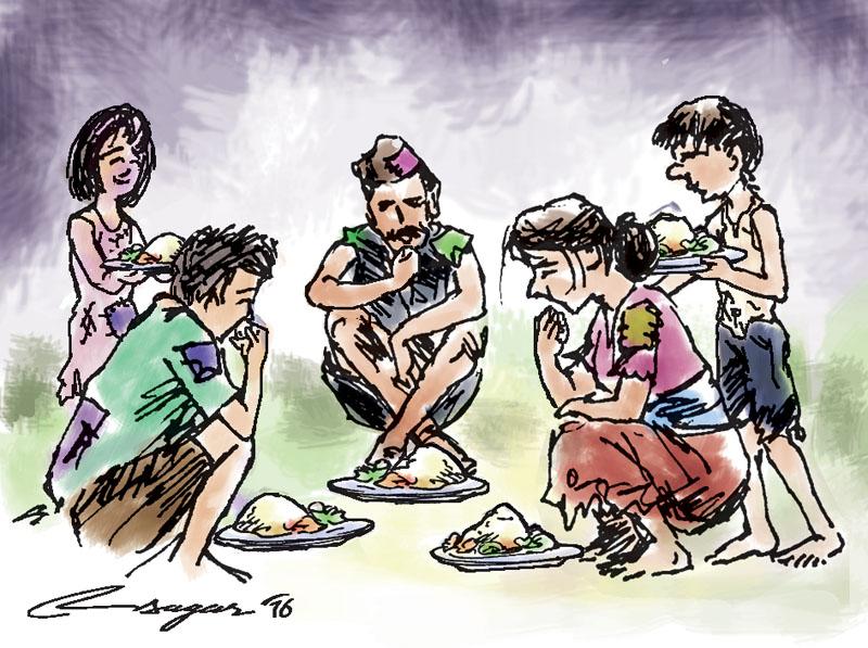 Feeding poor. Illustration: Ratna Sagar Shrestha
