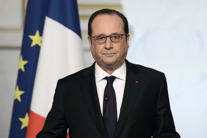French President Francois Hollande delivers a speech after the weekly cabinet meeting, on Wednesday, March 30, 2016 in Paris. Photo: Stephane de Sakutin, Pool via AP