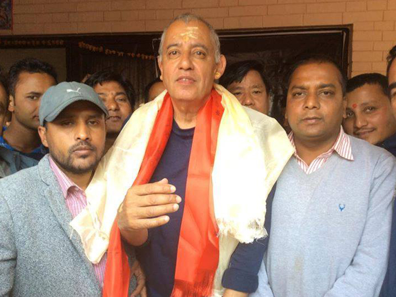 Nepal Students Union (NSU) members congratulate newly elected General Secretary of the Nepali Congress Shashanka Koirala (centre) at his residence in Maharajgunj, on Thursday, March 10, 2016. Photo: RSS