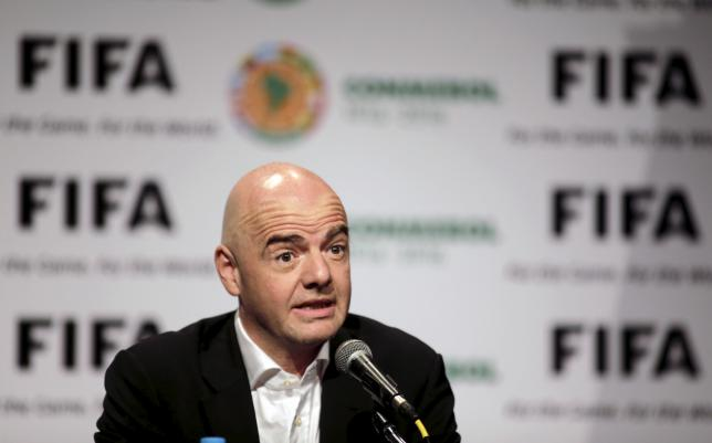 FIFA President Gianni Infantino speaks during a news conference at the South American Football Confderation (CONMEBOL)  headquarters in Luque March 28, 2016. REUTERS/Jorge Adorno