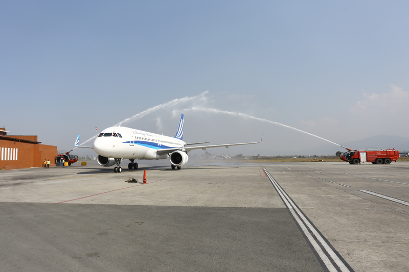 In this handout photo provided by Himalaya Airlines, a new Airbus lands at the Tribhuvan International Airport in Kathmandu on Wednesday, March 9, 2016.