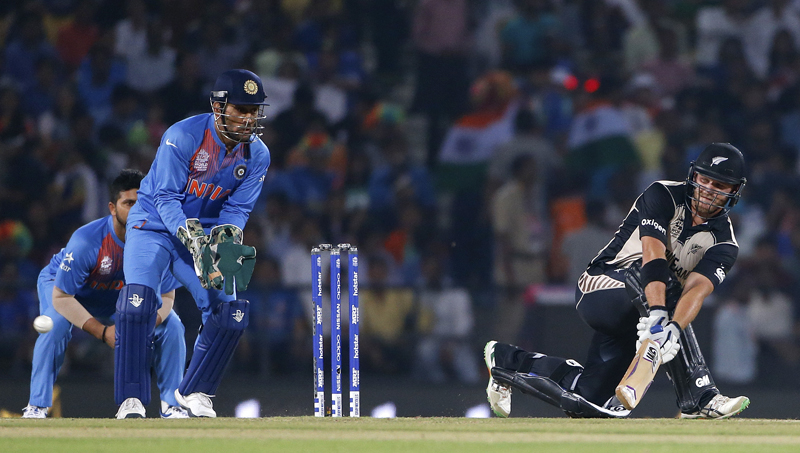 New Zealand's Corey Anderson plays a shot against India during the ICC World Twenty20 2016 cricket match at the Vidarbha Cricket Association stadium in Nagpur, India, on Tuesday, March 15, 2016. Photo: AP