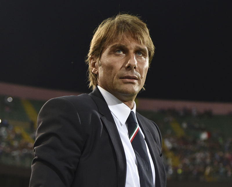 FILE - Italy's coach Antonio Conte arrives for the Euro 2016 Group H qualifying soccer match between Italy and Bulgaria, at the Renzo Barbera stadium in Palermo, Italy, on Sept. 6, 2015. Photo: AP