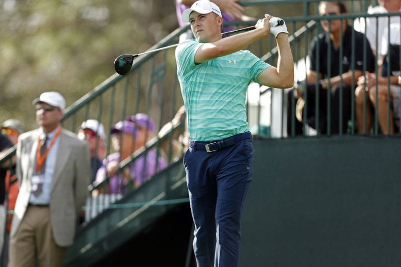 Jordan Spieth hits his tee shot on the first hole during the third round of the Valspar Championship golf tournament on Saturday, March 12, 2016, in Palm Harbor, Florida. Photo: AP
