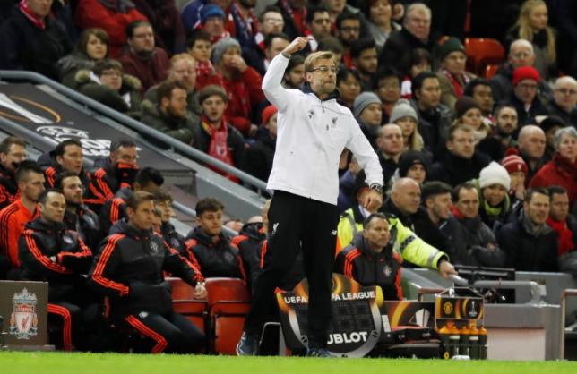 Football Soccer - Liverpool v Manchester United - UEFA Europa League Round of 16 First Leg - Anfield, Liverpool, England - 10/3/16nLiverpool manager Juergen Klopp nReuters / Phil Noble