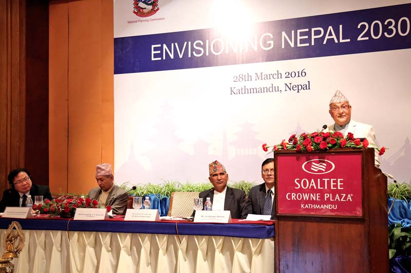 Prime Minister KP Sharma Oli addresses the seminar titled 'Envisioning Nepal 2030' organised by the National Planning Commission in association with the Asian Developmental Bank, at Soaltee Crowne Plaza, in Kathmandu, on Monday, March 28, 2016. Photo: RSS