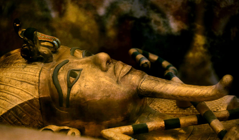 FILE - one of Egypt's famed King Tutankhamun's golden sarcophagus is displayed at his tomb in a glass case at the Valley of the Kings in Luxor, on Thursday, November 5, 2015. Photo: AP