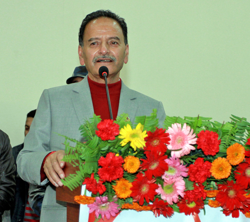Nepali Congress leader Krishna Prasad Sitaula speaking at a function in Kathmandu on Wednesday, March 2, 2016. Photo: RSS