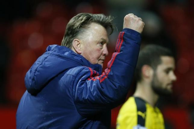 Football Soccer - Manchester United v Watford - Barclays Premier League - Old Trafford - 2/3/16nManchester United manager Louis van Gaal celebrates at the end of the gamenAction Images via Reuters / Jason CairnduffnLivepic