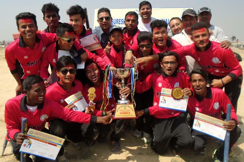 Lumbini Khukuri Cricket Club players celebrate after winning the Suresh Shrestha Memorial District-level Twenty20 Cricket Tournament in Bhairahawa on Tuesday, March 22, 2016. Photo: THT