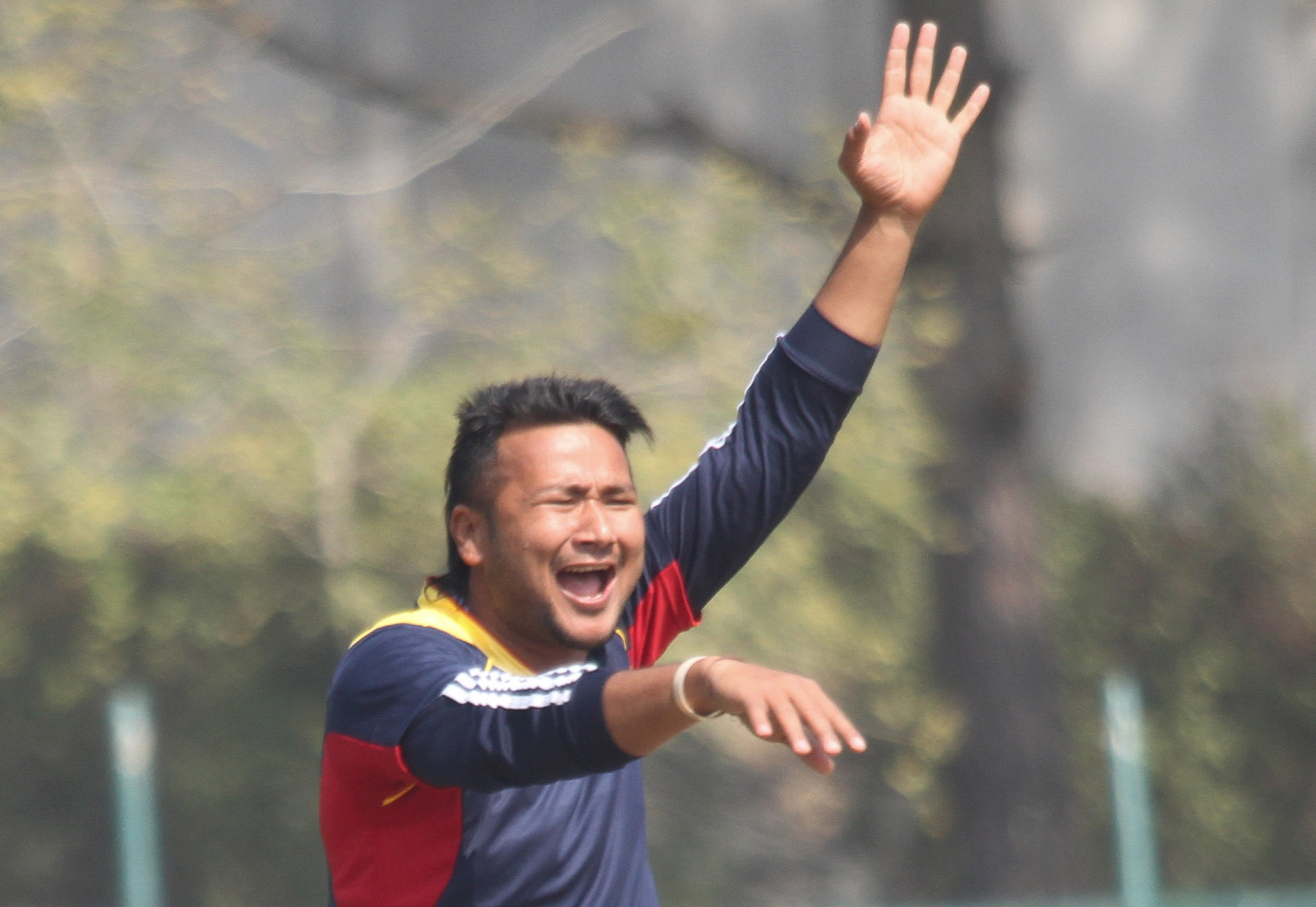 Nepal Police Club's Manjit Shrestha appeals for an lbw decision against SS Events during their first Ruslan Cup Cricket Tournament match at TU Stadium on Monday. Photo: Udipt Singh Chhetry THT