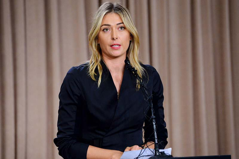 Maria Sharapova speaks to the media announcing a failed drug test after the Australian Open during a press conference at The LA Hotel Downtown, California, on March 7, 2016. Photo: USA Today via Reuters