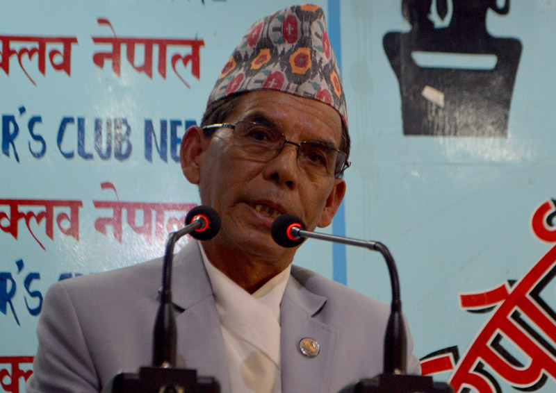 Minister for Water Supply and Sanitation Prem Bahadur Singh speaks at the Reporters' Club in Kathmandu, on Wednesday, March 9, 2016. Photo: Reporters' Club