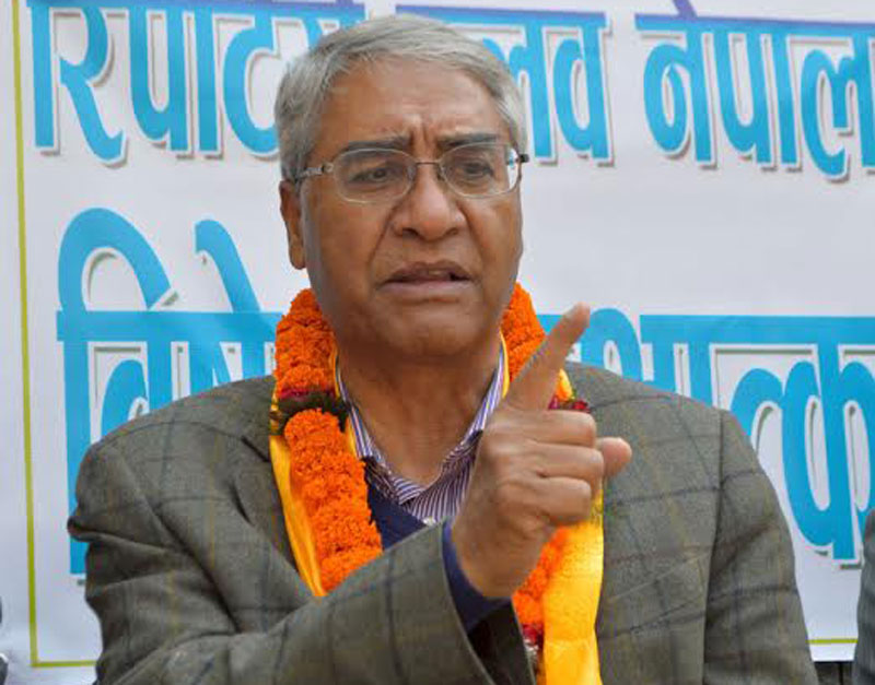 Newly elected Nepali Congress President Sher Bahadur speaking at a programme organised by the Reporters' Club in the Capital on Friday, March 11, 2016. Photo: Reporters' Club