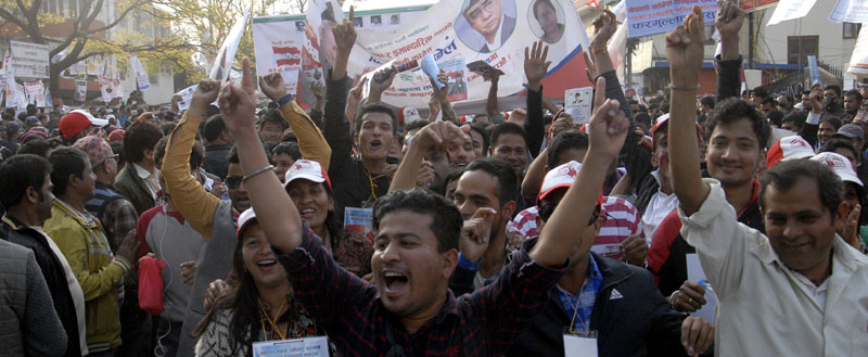 Nepali Congress cadres shouting slogans during the partyu0092s 13th National General Convention, in Kathmandu, on Saturday.  Photo: THT