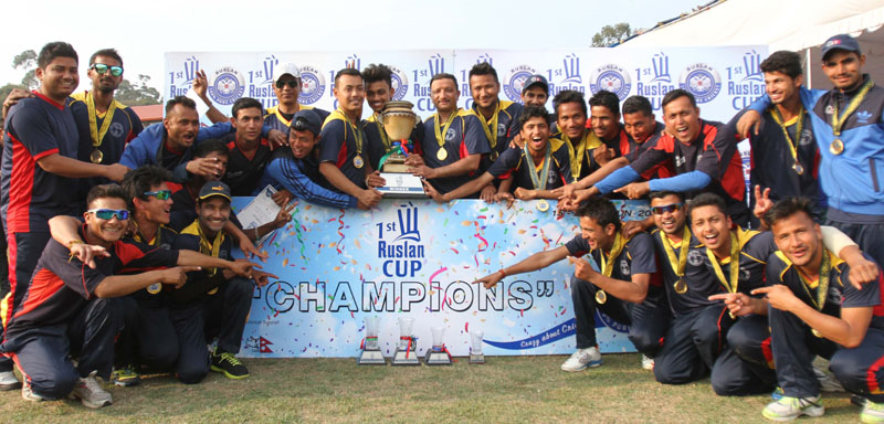 Nepal Police Club players and officials celebrate after winning the first Ruslan Cup Cricket Tournament at the Tribhuvan University Stadium in Kathmandu on Saturday. Photo: THT