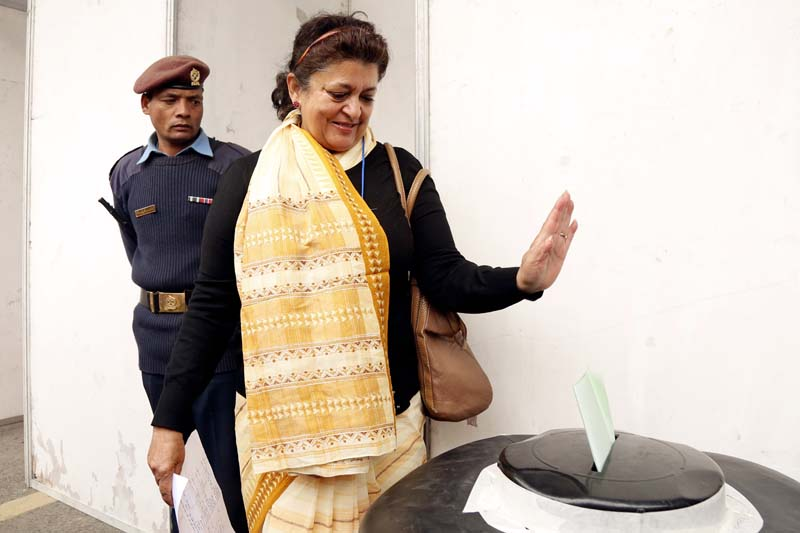 FILE: Nepali Congress leader Sujata Koirala casting her vote in the party election during the 13th General Convention at the City Hall, Bhrikutimandap, on March 6, 2016. Photo: RSS