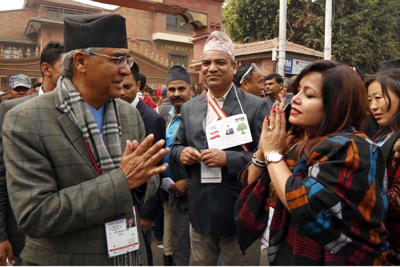 Nepali Congress leader Sher Bahadur Deuba interacting with the supporters outside the City Hall before casting their votes in the party election during the 13th General Convention at the City Hall, Bhrikutimandap, on March 6, 2016. Photo: RSS
