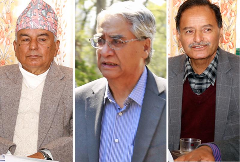 Nepali Congress senior leaders Ram Chandra Paudel (left) Sher Bahadur Deuba (centre) and Krishna Prasad Sitaula. Photo: THT