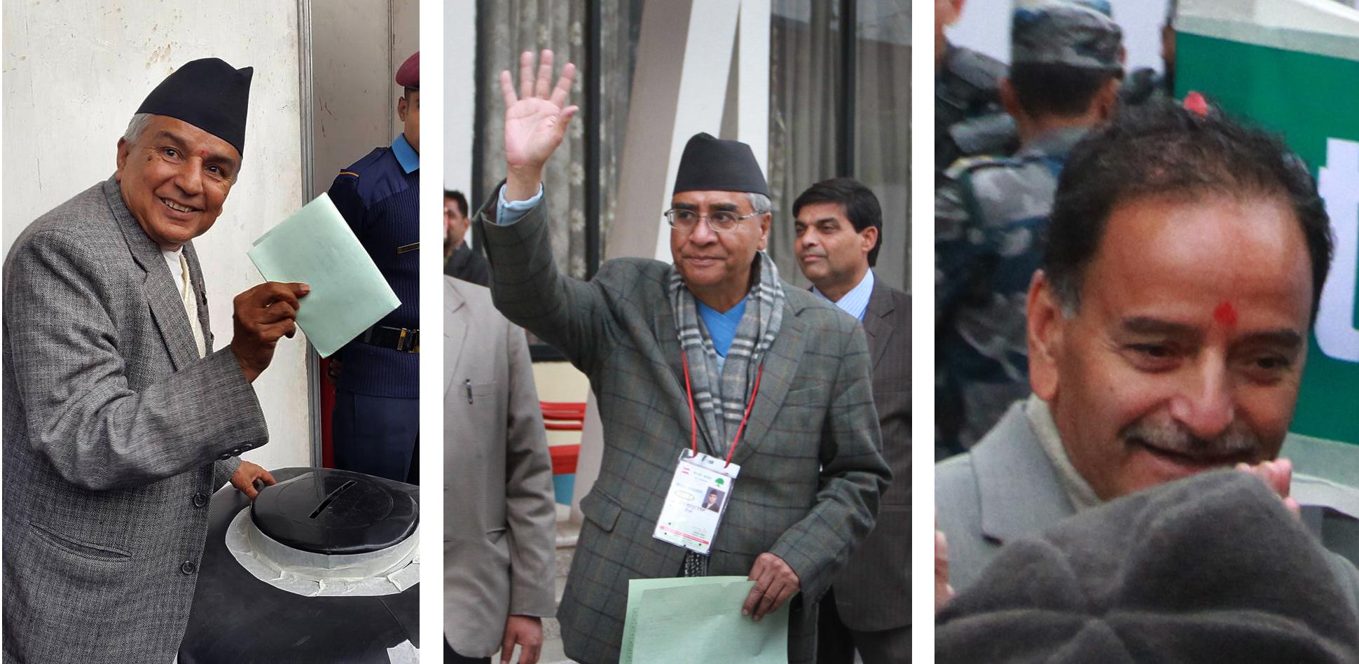 Nepali Congress Acting President Ramchandra Paudel, senior leader Sher Bahadur Deuba and General Secretary Krishna Prasad Sitaula casting their votes to elect CWC members during the 13th General Convention at the City Hall, Bhrikutimandap, Kathmandu, on Sunday, March 6, 2016. Photo: THT