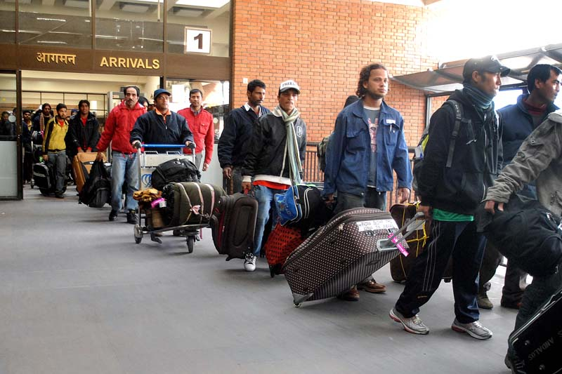 File - Nepali migrant workers in TIA. Photo: THT