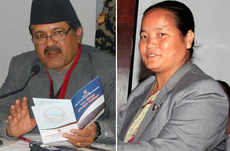 Minister for Law Agni Prasad Kharel (left) and Speaker Onsari Gharti Magar. Photos: THT