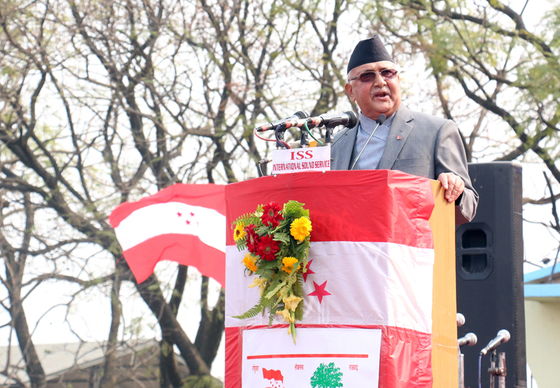 Prime Minister KP Sharma Oli addresses the inaugural session of the Nepali Congress 13th national general convention, in Kathmandu, on Thursday, March 3, 2016. Photo: RSS