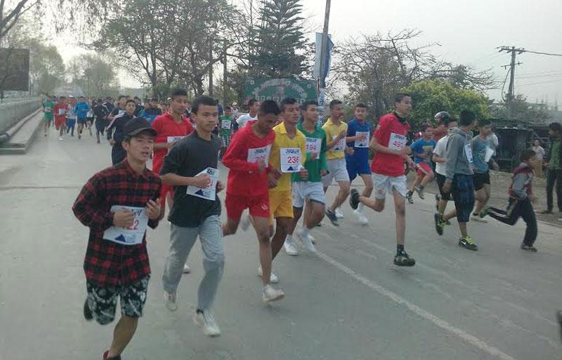 Participants take part in the 10th Safal Pokhara International Marathon in Pokhara on Saturday, March 05, 2016. Photo: Rup Narayan Dhakal