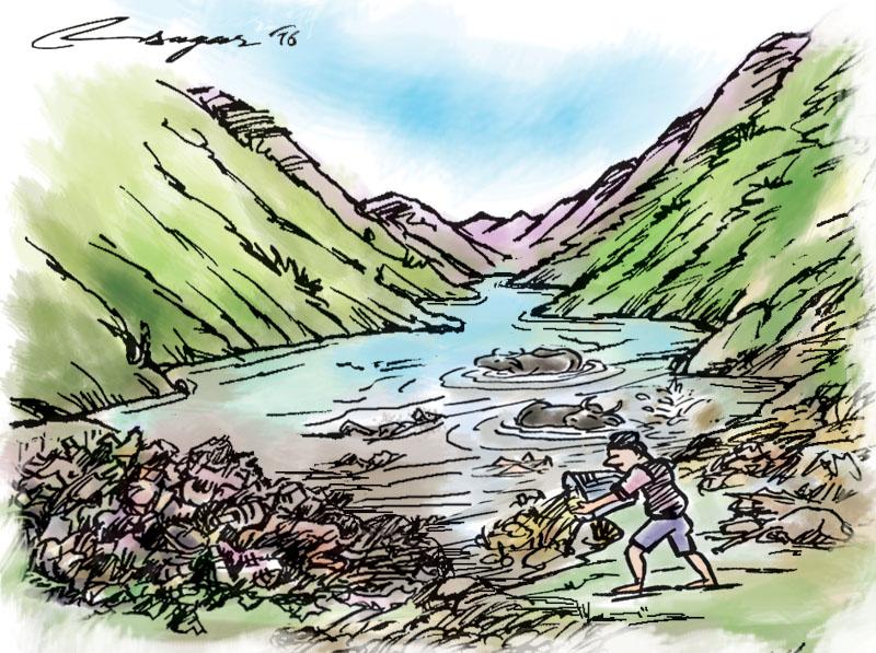 Polluted Rupa Lake. Illustration: Ratna Sagar Shrestha