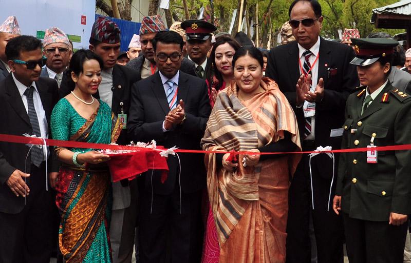 President Bidhya Devi Bhandari inaugurating the Nepal International Trade Fair-2016, in Kathmandu, on Thursday. Photo: THT