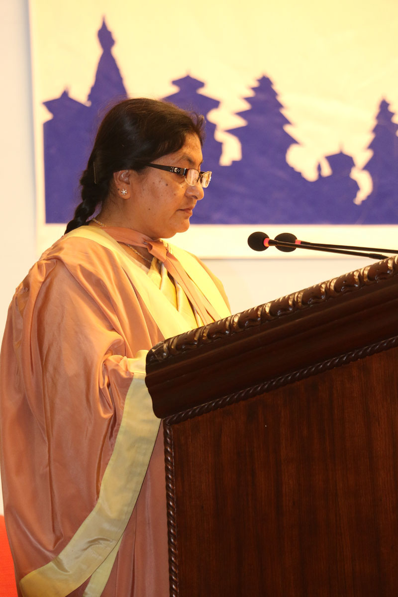 President Bidya Devi Bhandari delivers a speech during a special convocation programme organised by Tribhuvan university on Monday, March 14, 2016. Photo: RSS