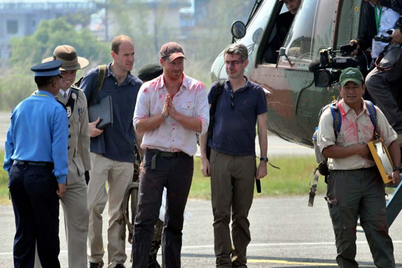 British Prince Harry arrives at the Pokhara Airport in Pokhara, on Tuesday, March 22, 2016. Photo: RSS