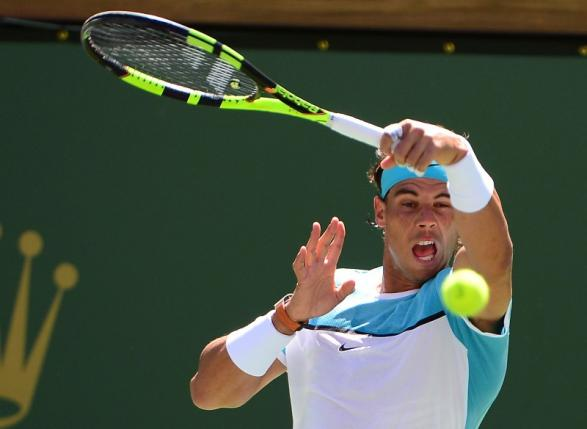 Mar 18, 2016; Indian Wells, CA, USA; Rafael Nadal (ESP) during his quarter final match against Kei Nishikori (JPN) in the BNP Paribas Open at the Indian Wells Tennis Garden. Mandatory Credit: Jayne Kamin-Oncea-USA TODAY Sports