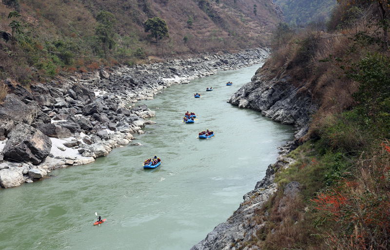 Tourists enjoy rafting in Trishuli River on Tuesday, March 15, 2016. Photo: RSS