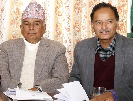 Nepali Congress leaders Ram Chandra Paudel (left) and Krishna Prasad Sitaula. Photo: RSS