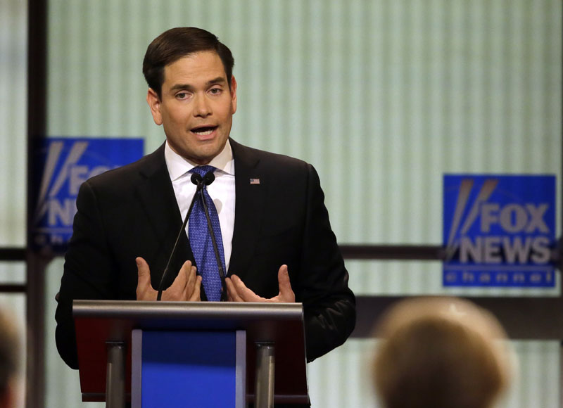 Republican presidential candidate, Senator Marco Rubio, R-Fla., argues a point during a Republican presidential primary debate at Fox Theatre, on Thursday, March 3, 2016, in Detroit. Photo: AP