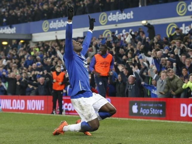 Football Soccer - Everton v Chelsea - FA Cup Quarter Final - Goodison Park - 12/3/16nEverton's Romelu Lukaku celebrates scoring their first goalnAction Images via Reuters / Carl Recine/ Livepic