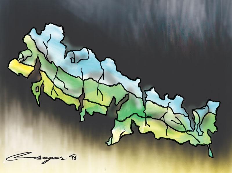 Scattered Nepal. Illustration: Ratna Sagar Shrestha/THT