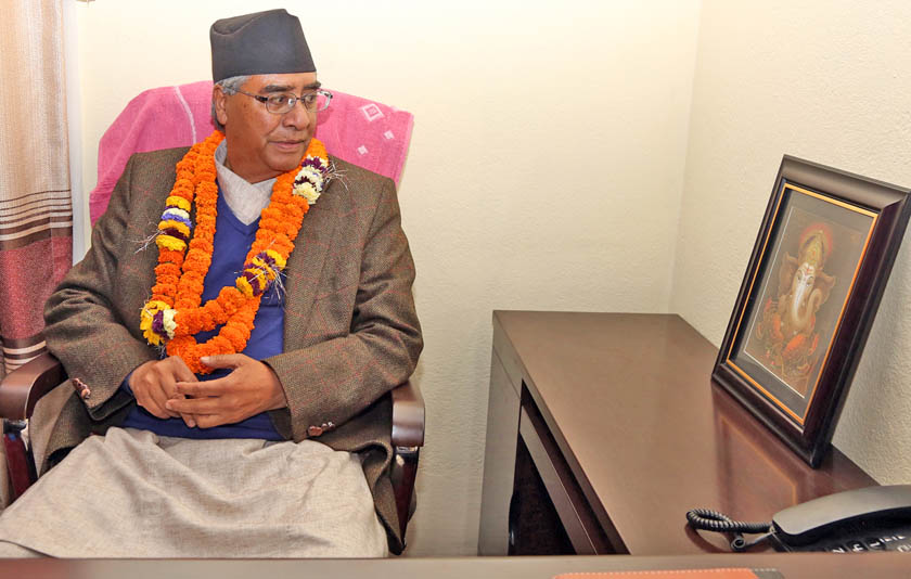Newly elected President  Sher Bahadur Deuba after assuming his office at the party's central office in Sanepa on Wednesday, March 16, 2016. Photo: RSS