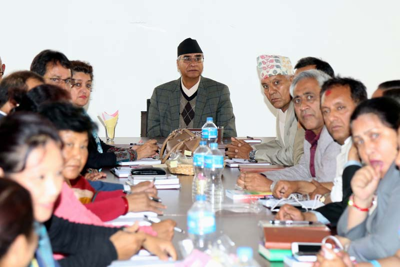 Newly elected president of the Nepali Congress (NC) Sher Bahadur Deuba attending the first Central Working Committee (CWC) meeting  at the Party Office, in Sanepa, Lalitpur, on Friday, March 18, 2016. Photo: RSS