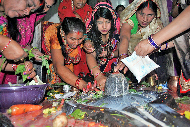 Devotees worship a Shiva Linga during the Mahashivaratri at Alikhiya Math Mandir in Birgunj on Monday, March 7, 2016. Photo: RSS
