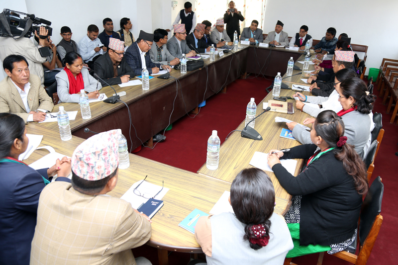 A meeting of the Social Justice and Human Rights Committee of the Parliament discusses the plan of action of Truth and Reconciliation Commission, in Kathmandu, on Wednesday, March 30, 2016. Photo: RSS