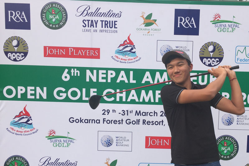 Nepal's Tenzing Tshiring tees off during the second round of the sixth Nepal Open Amateur Championship at the Gokarna Golf Club in Kathmandu on Wednesday.