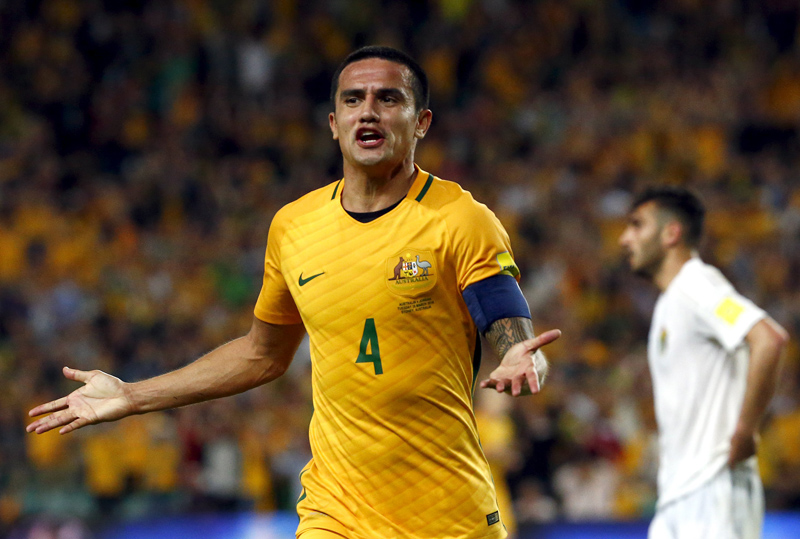 Australia's Tim Cahill celebrates scoring a goal against Jordan during their World Cup 2018 Qualifier at the Sydney Football Stadium on Tuesday, March 29, 2016. Photo: Reuters