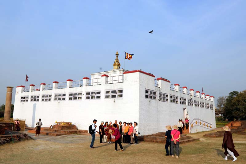 Tourists gather outside the Mayadevi Temple in Lumbini, the birth place of Gautam Buddha, on Thursday, March 17, 2016. Photo: RSS