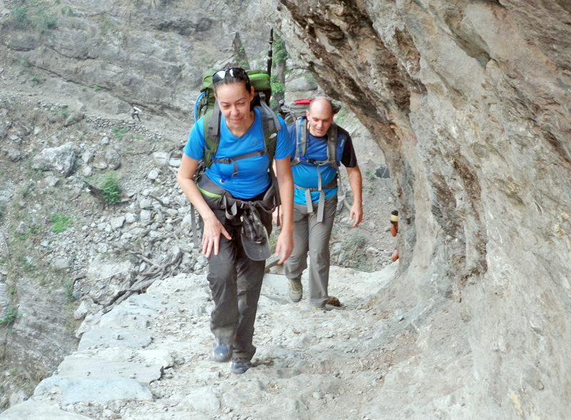 Tourists walk on their way to Larkepas, along the Manaslu Trekking trail in Lipuvhir of Gorkha district on Monday, March 28, 2016. Photo: RSS