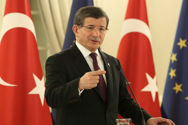 Turkish Prime Minister Ahmet Davutoglu addresses the media in Ankara, Turkey, on March 15, 2016 in this handout photo provided by the Prime Minister's Press Office. Photo: Turkish Prime Minister's Press Office via Reuters