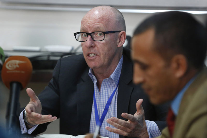 United Nations humanitarian coordinator for Yemen, Jamie McGoldrick, speaks to a press conference in Sanaa, Yemen, on Wednesday, March 16, 2016. Photo: AP